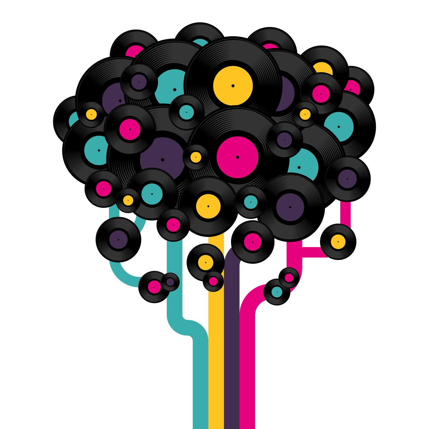 Vinyl record tree. Vector illustration.